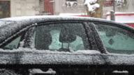 Snowy Car Windows Detail video