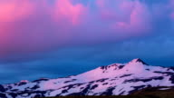 Snowy Mountains and Pink Clouds Timelapse. video