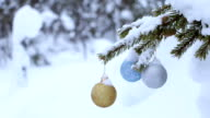Snowy Spruce Branch and Three Christmas Balls video