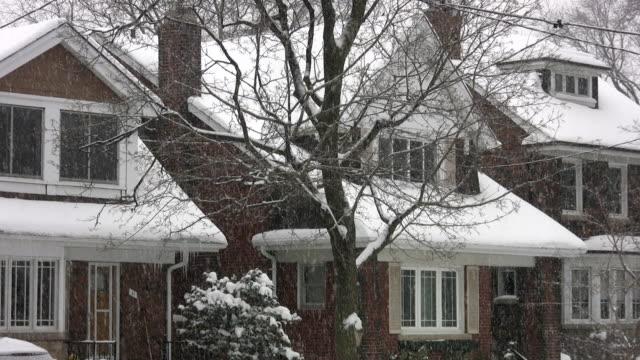Snowy suburbs. video