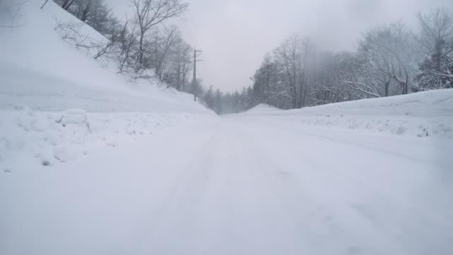 Snowy winter road drive - 4K - video