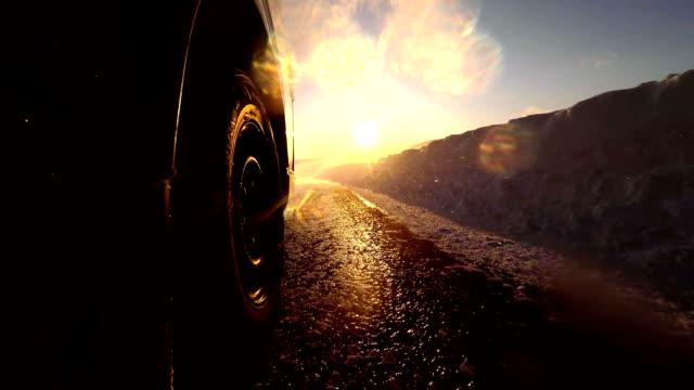 Snowy winter road drive video