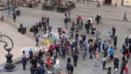Soap bubble street performer in Krakow video