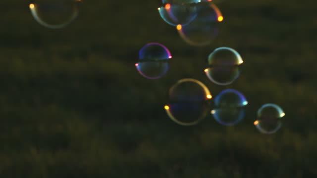 Soap bubbles on meadow video