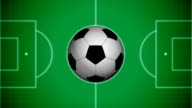 Soccer background with rotating ball. Alpha transition video