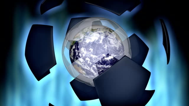 Soccer ball and Earth animation video