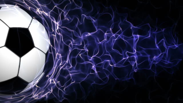 Soccer Ball in Blue Abstract Particles Ring, Loop, 4k video