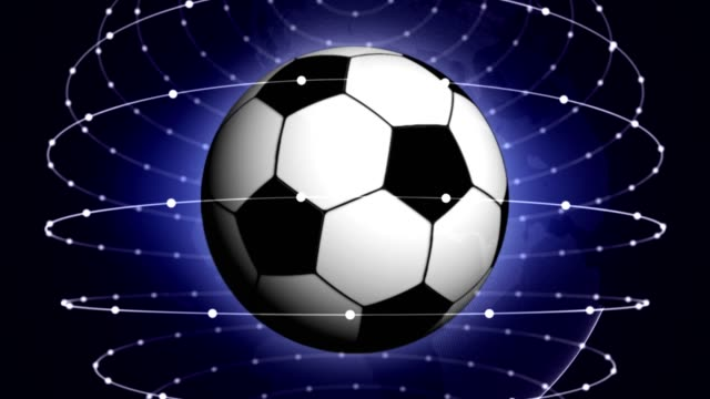 Soccer Ball in Blue Abstract Particles Rings, Animation video