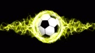 Soccer Ball in Yellow Flames Abstract Particles Ring, Animation, Rendering, Background, Loop video