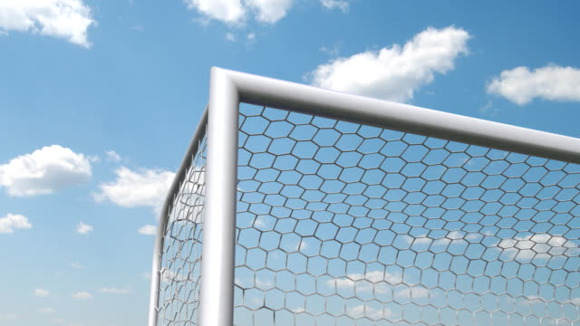 soccer ball is flying in the goal, slow-motion video
