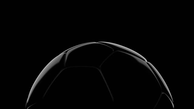 Soccer ball slowly rotate on black background video