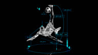 3D soccer bicycle kick man with technical data video