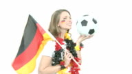 Soccer Fan with flag and ball video