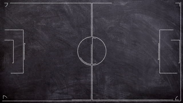Soccer Field Drawing On A Blackboard In Cartoon Style video