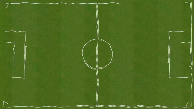 Soccer Field Forming On Grass In Cartoon Style video