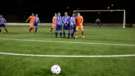 Soccer / Football player scores free kick the celebrates video