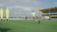 Soccer goal kick training video