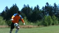 Soccer goalie kicks ball, slow motion video
