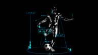 3D soccer kick man with technical data video