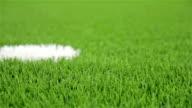Soccer penalty point. Close-up, diagonal slider shot video