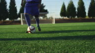 A soccer player does some fancy footwork while going up against other players video