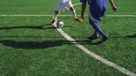 A soccer player dribbles down the field as an opponent defends him closely video