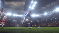 Soccer player kicks a ball on stadium video