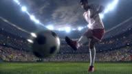 Soccer player kicks a penalty video