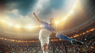 Soccer: Professional player makes a strong kick video