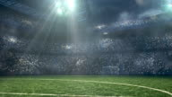Soccer stadium under dramatic sky video
