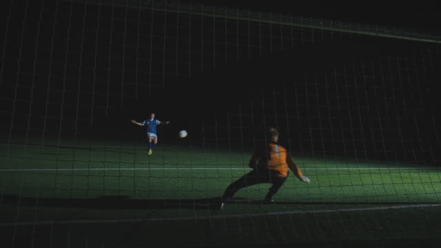 Soccer training on playing field at night video
