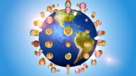 Social Media And People Avatars Orbiting With Globe video