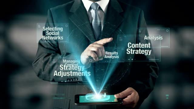 Social Media Concept Businessman using digital tablet technology background video