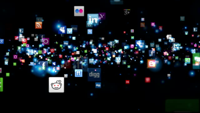 Social Network Icons fly, black video