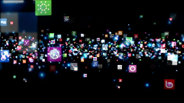 Social Network Icons flying, black video