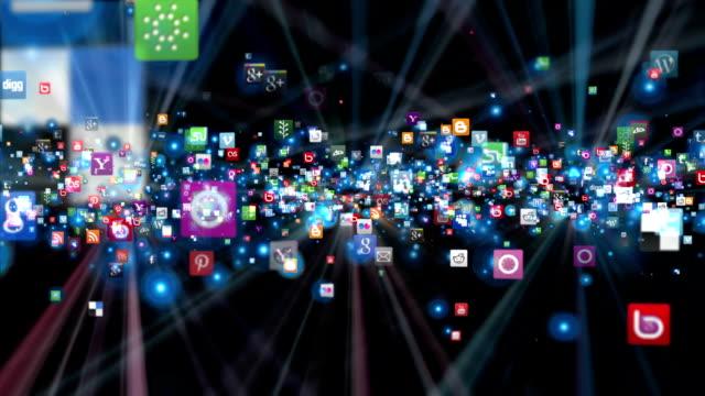 Social Network Icons flying, shine, black video