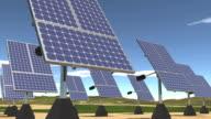 Solar Energy Farm Sunrise to Sunset CG video