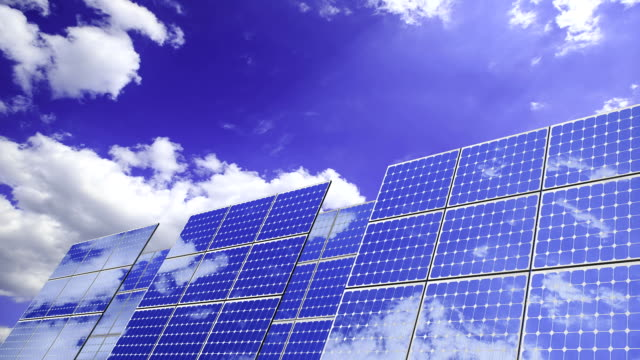 solar energy: photovoltaic panels  (time lapse) video