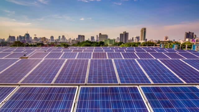 Solar Farm in the city,Hyper Lapse video