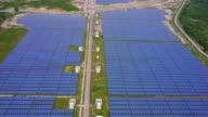 Solar farm, solar panels from above video