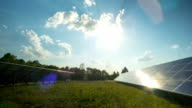 Solar panel and sun, panoramic time-lapse video