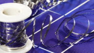 Solar panel cell elements and wires assembling details video