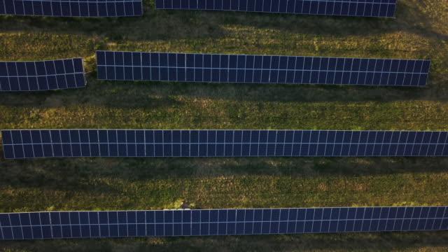 Solar panel green energy field on hills video