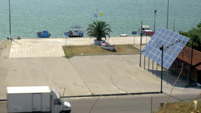 Solar panel in coastal city video