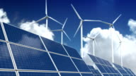 Solar Panels and Wind Turbines - Green Energy video