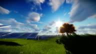Solar pannels, timelapse clouds, tilt video