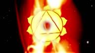 Solar Plexus Manipura Chakra Mandala Spins in Energy Field of Fire video