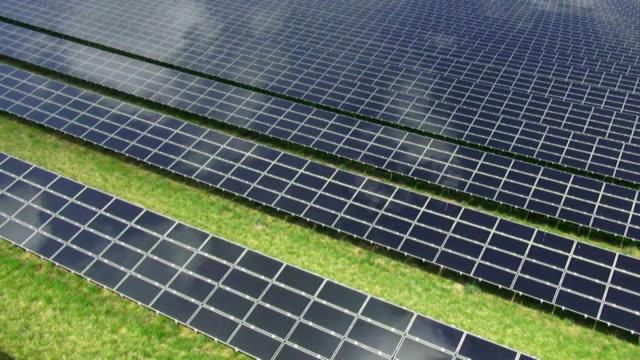 Solar Power Plant Aerial Flyover Shot video