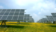 Solar Power Station in Spring PAN (4K/UHD to HD) video