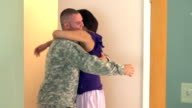 Soldier coming home and hugging his wife video